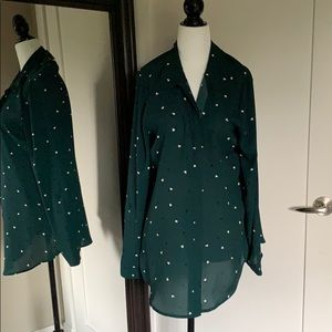 NEW Green blouse with black and white hearts